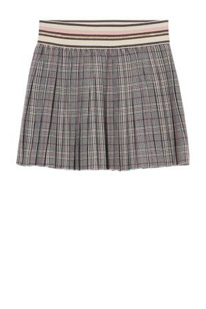 rok met pied-de-poule grijs/ecru/roze