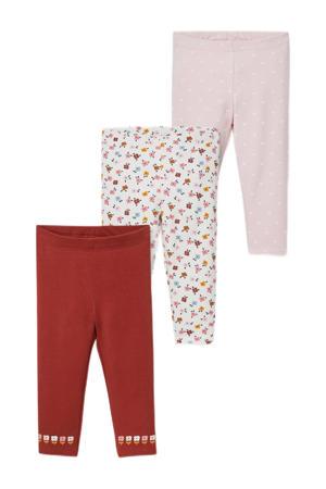 legging - set van 3 roze/wit/roest
