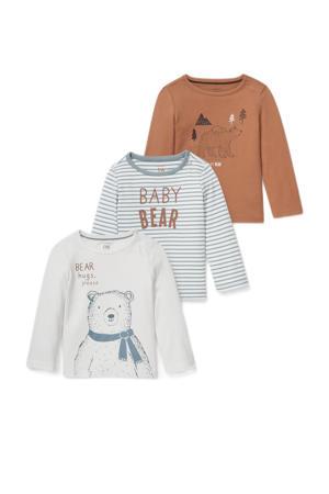 baby longsleeve met print - set van 3 bruin/wit