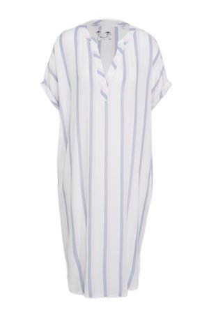 gestreept nachthemd wit/lichtblauw