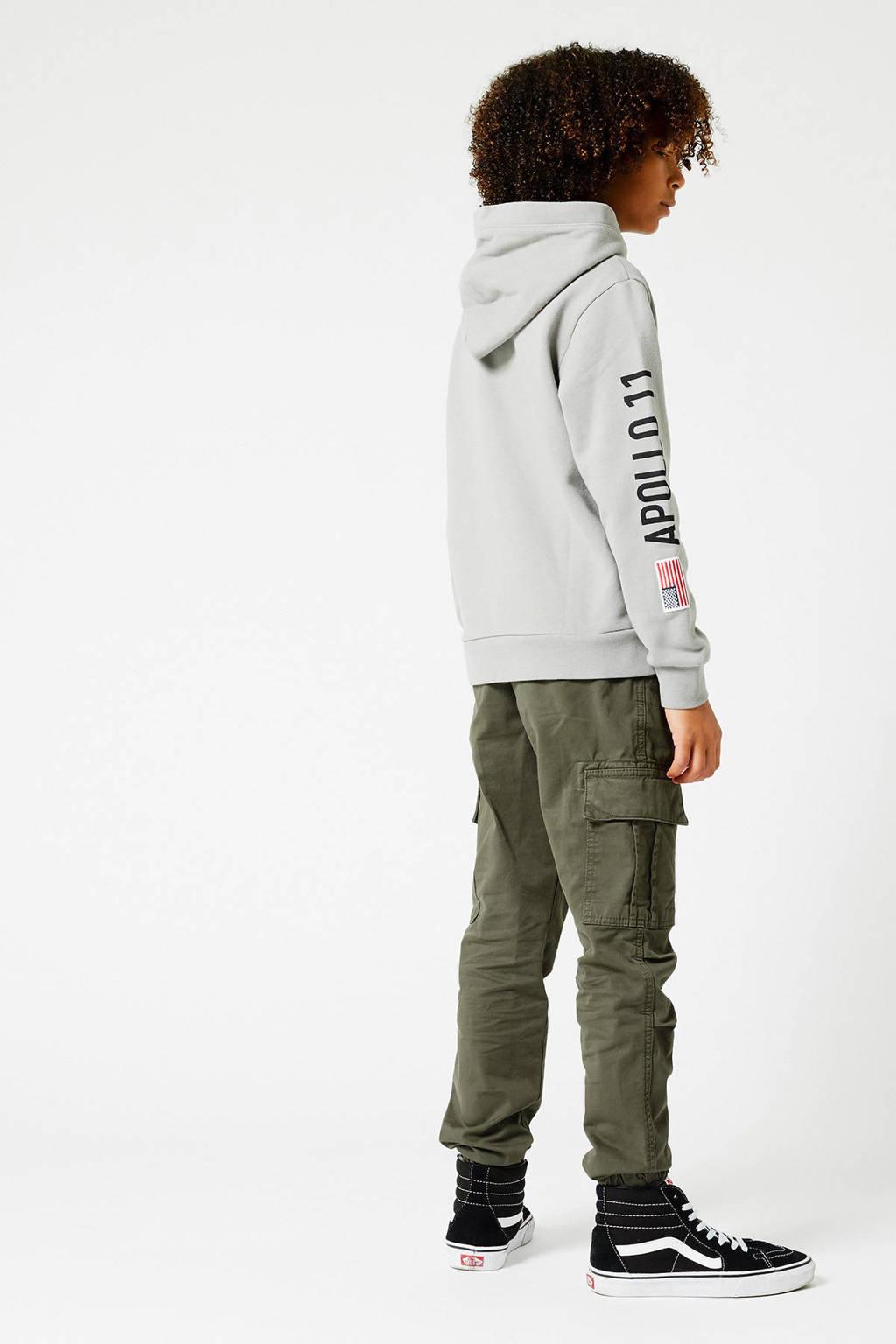 America Today Junior hoodie Nasa met printopdruk grijs melange, Grijs melange