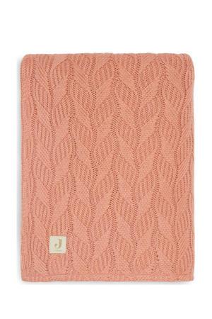 baby ledikantdeken 100x150cm Spring knit rosewood/coral fleece