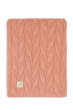 baby wiegdeken 75x100cm Spring knit rosewood/coral fleece