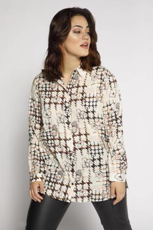 blouse met all over print ecru/zwart/oranje