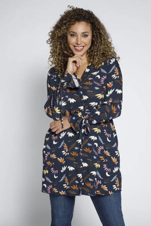 blouse met all over print en volant donkerblauw/multi