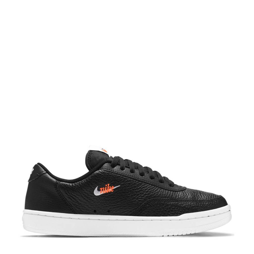 Nike Court Vintage Premium  leren sneakers zwart/wit/oranje, Zwart/wit/oranje