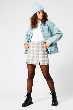 geruite rok bruin/blauw/wit