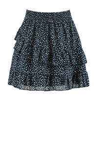America Today Junior rok met stippen en ruches donkerblauw, Donkerblauw