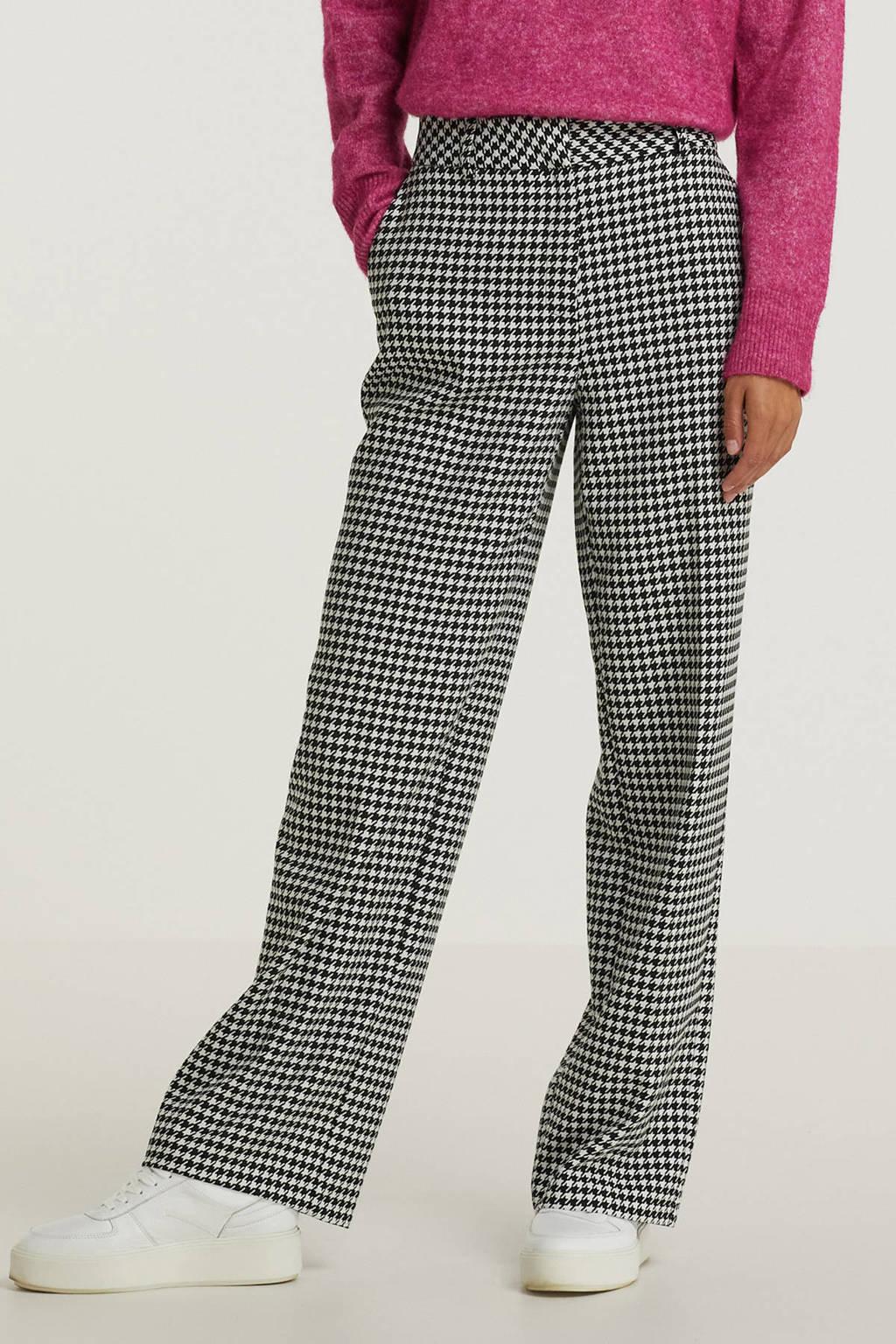 SELECTED FEMME geruite high waist wide leg broek SLFMUSA wit, Wit