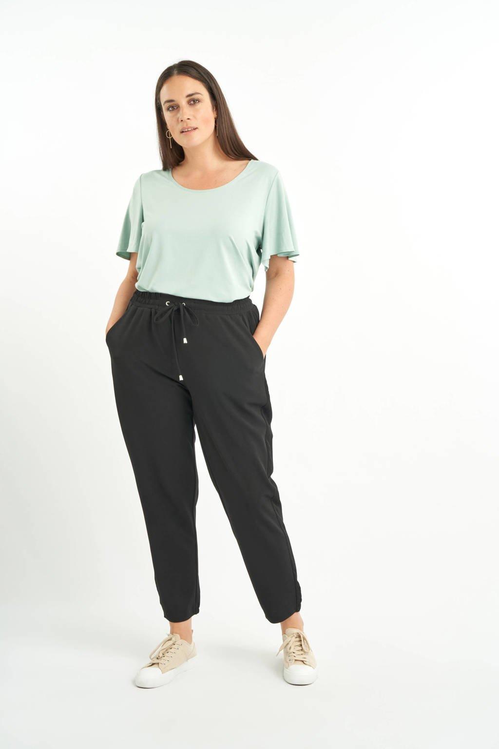 MS Mode cropped high waist straight fit broek zwart, Zwart