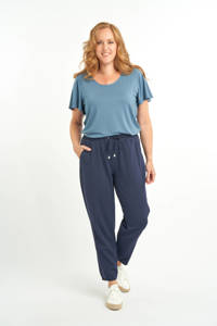 MS Mode cropped high waist straight fit broek donkerblauw, Donkerblauw