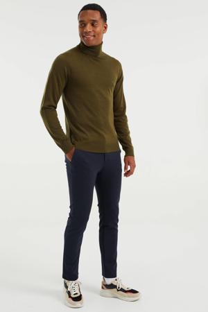slim fit broek met all over print royal navy melange