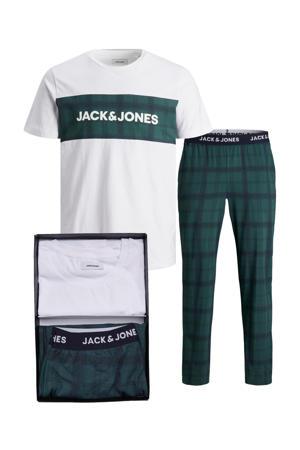 giftbox pyjama JACTRAIN wit/donkergroen