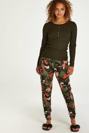 pyjamabroek Tuca met all over print donkergroen/zalmroze