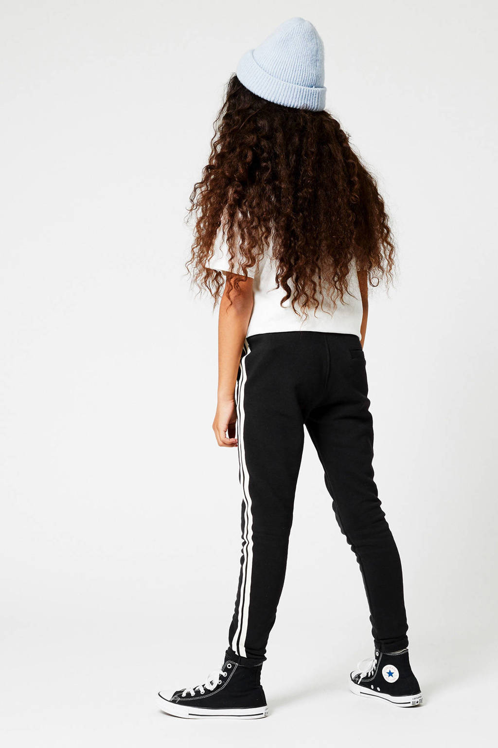 America Today Junior joggingbroek Celina met zijstreep zwart/wit, Zwart/wit