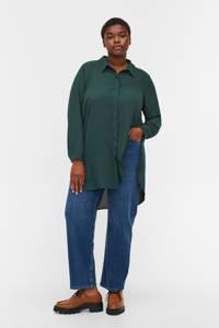 Zizzi semi-transparante geweven blouse donkergroen, Donkergroen