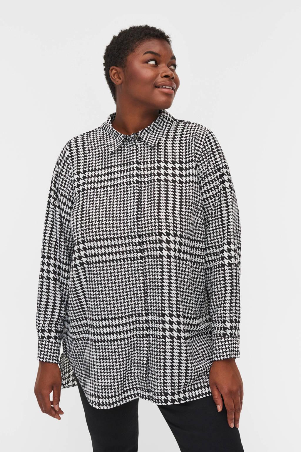 Zizzi blouse EHOPE met pied-de-poule wit/zwart, Wit/zwart