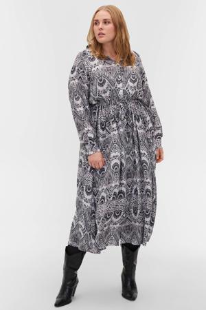 blousejurk EFUJO met all over print wit/zwart