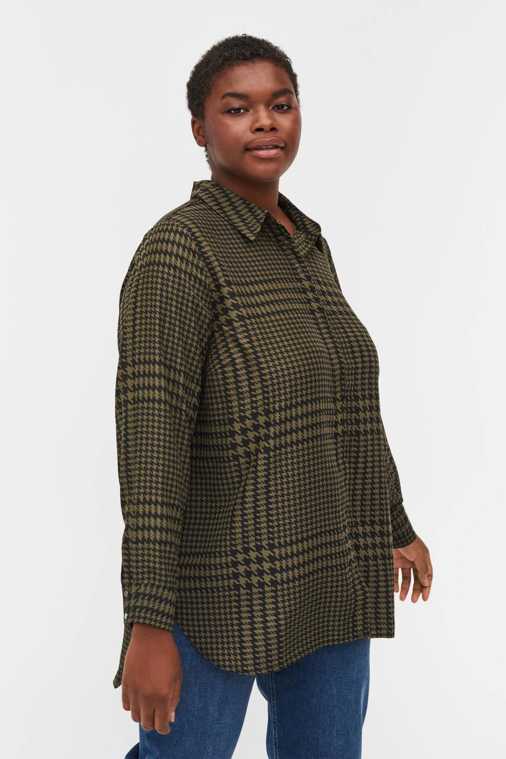 Zizzi blouse EHOPE met pied-de-poule olijfgroen/zwart, Olijfgroen/zwart