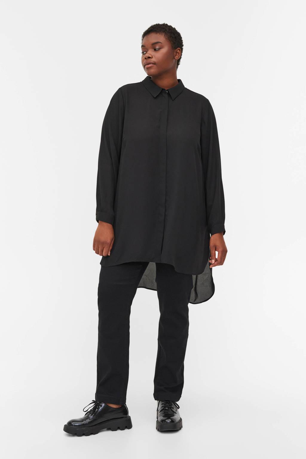 Zizzi semi-transparante geweven blouse zwart, Zwart