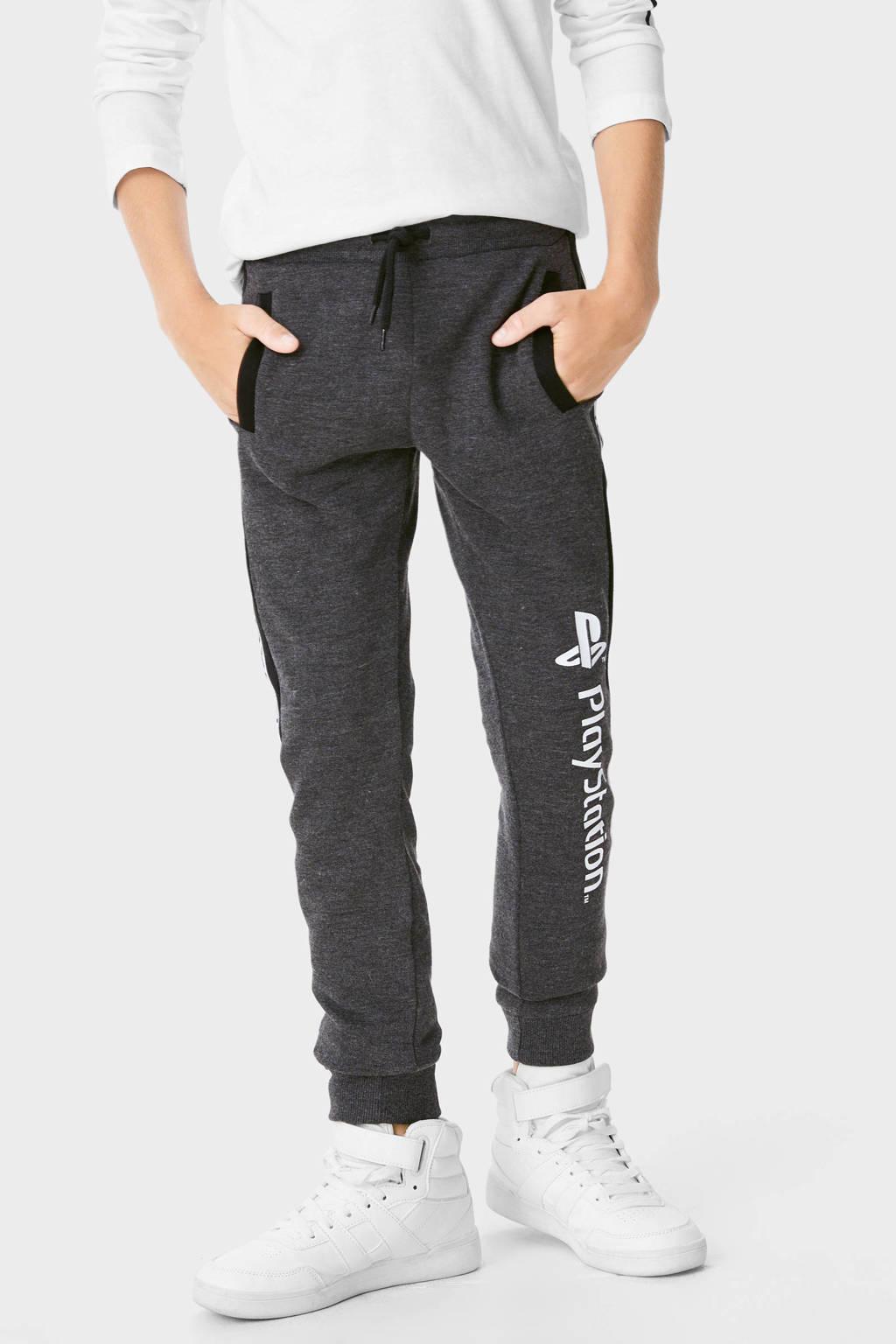 C&A regular fit joggingbroek grijs/wit/zwart, Grijs/wit/zwart