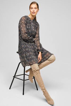semi-transparante jurk met all over print antraciet