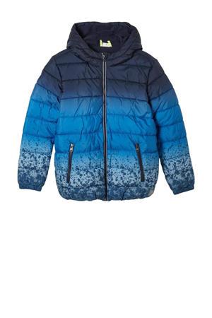gewatteerde winterjas met all over print blauw/donkerblauw