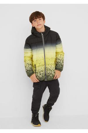 gewatteerde winterjas met all over print kaki/geel/zwart