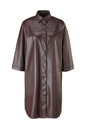 imitatieleren blousejurk 3/4 mouw bruin