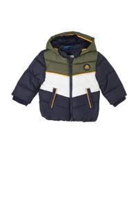 s.Oliver baby gewatteerde winterjas donkerblauw/army groen/wit, Donkerblauw/army groen/wit