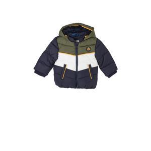 baby gewatteerde winterjas donkerblauw/army groen/wit
