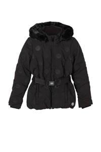s.Oliver gewatteerde winterjas met ceintuur zwart, Zwart