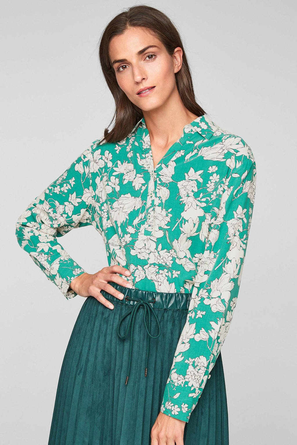 s.Oliver gebloemde blouse in viscose turquoise/wit, Turquoise/wit