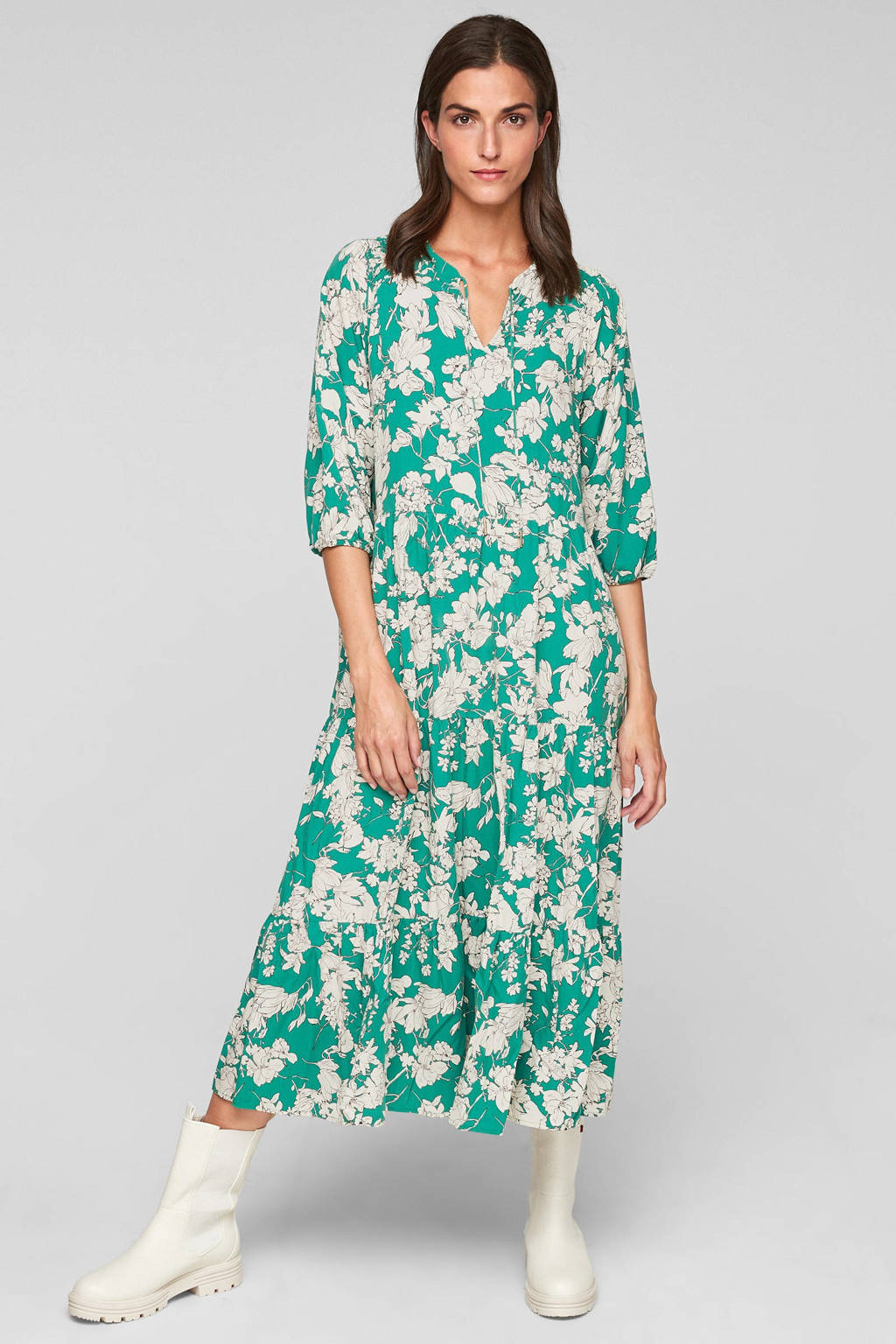 s.Oliver gebloemde midi jurk in viscose turquoise/wit, Turquoise/wit