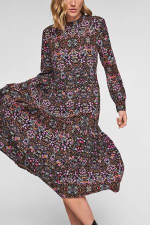 trapeze jurk met all over print en plooien zwart/multi