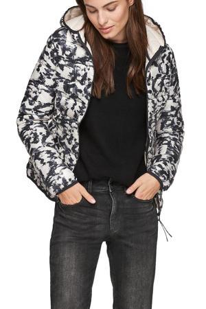 gewatteerde jas met all over print wit/zwart/grijs