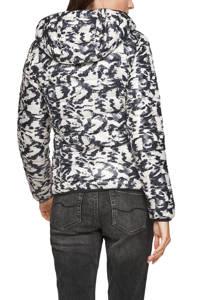 Q/S designed by gewatteerde jas met all over print wit/zwart/grijs, Wit/zwart/grijs