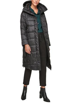 gewatteerde jas met afritsbare capuchon zwart