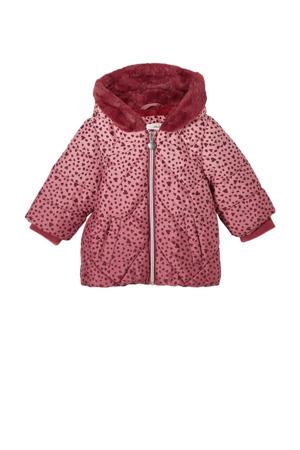gewatteerde winterjas met hartjes roze