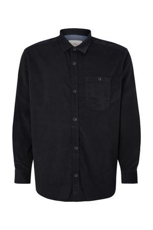 corduroy regular fit overhemd Plus Size blauw