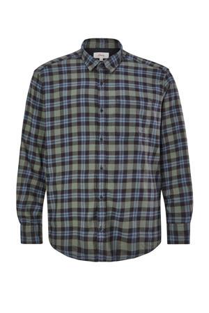 geruit regular fit overhemd Plus Size marine/groen