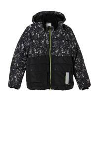 s.Oliver gewatteerde winterjas met all over print zwart/neon groen