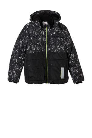 gewatteerde winterjas met all over print zwart/neon groen