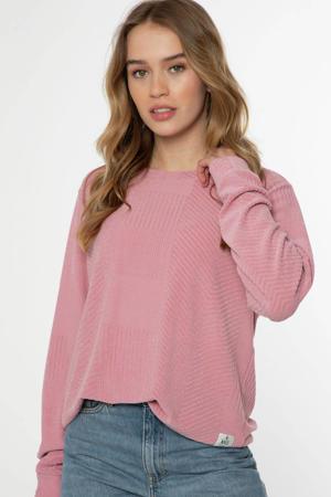 sweater Wowoh met textuur lichtrood