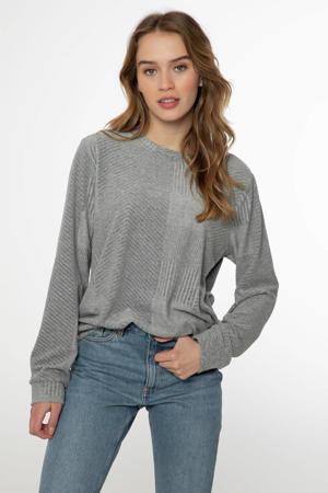 sweater Wowoh met textuur grijs melange