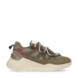 suède chunky sneakers kaki