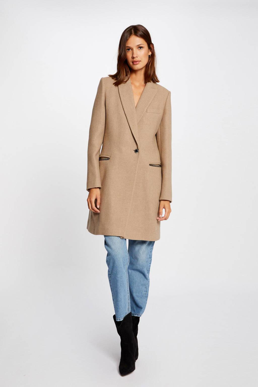 Morgan coat met wol beige melêe, Beige