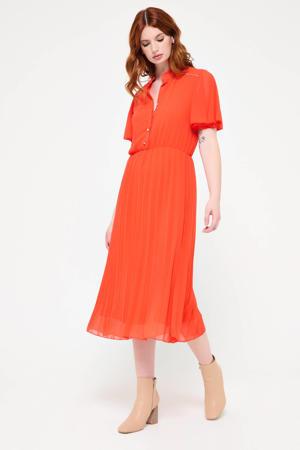 semi-transparante jurk met plooien oranje