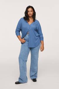 Mango Plus Size ribgebreide vest blauw, Blauw
