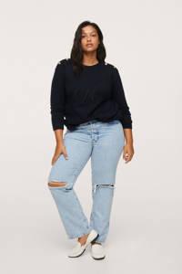 Mango Plus Size fijngebreide trui met borduursels donkerblauw, Donkerblauw